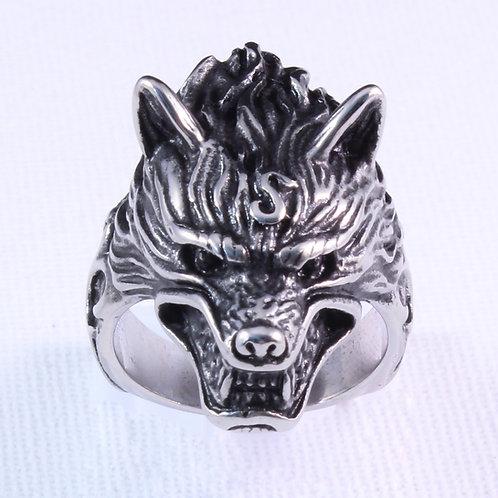 Wolf Head Biker Ring