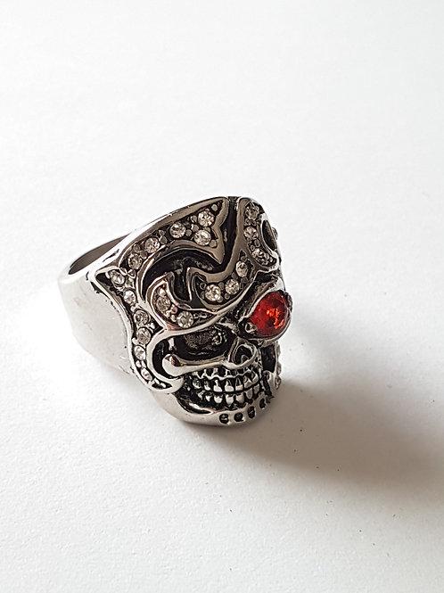 Red Eye Skull Biker Ring