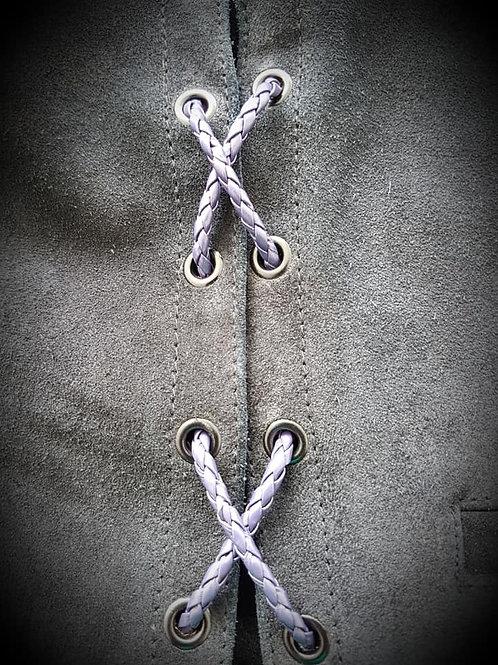 Dark Purple Biker Vest Leather Bolo Cords