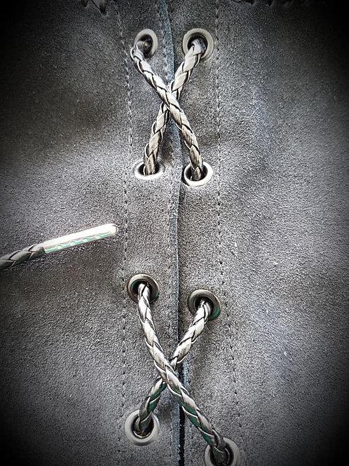 Black Biker Vest Leather Bolo Cords