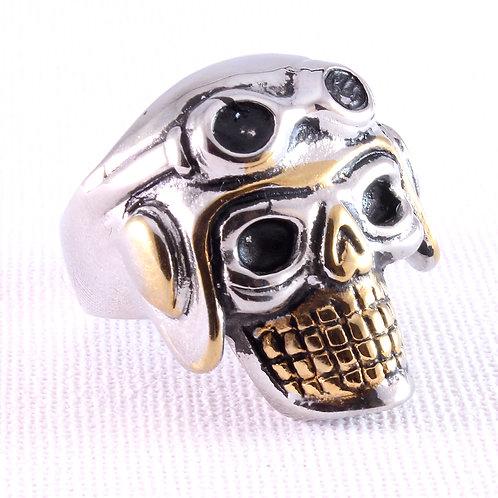 Pilot Skull Biker Ring