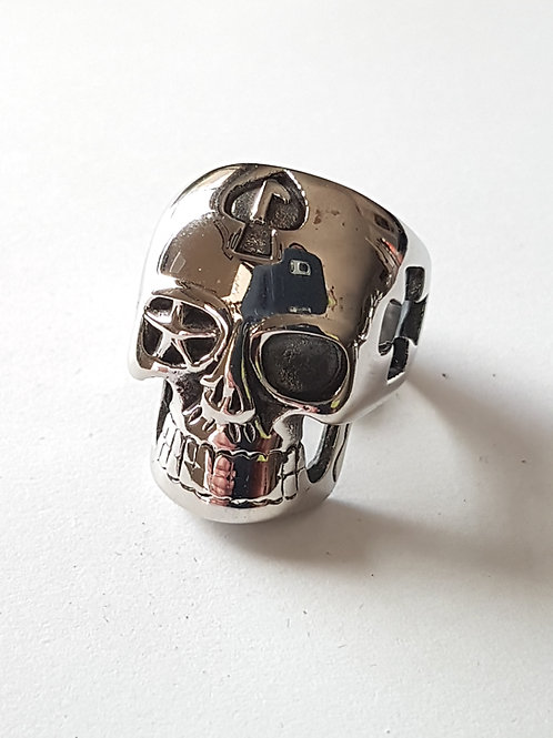 Lucky Ace of Clubs Biker Skull Ring