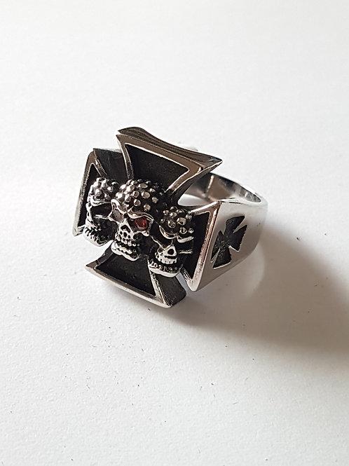 Black Cross and Skull Biker Ring