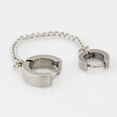 Silvertone Double Cuff Pierced Earrings