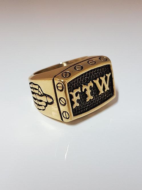 FTW Goldtone Biker Ring
