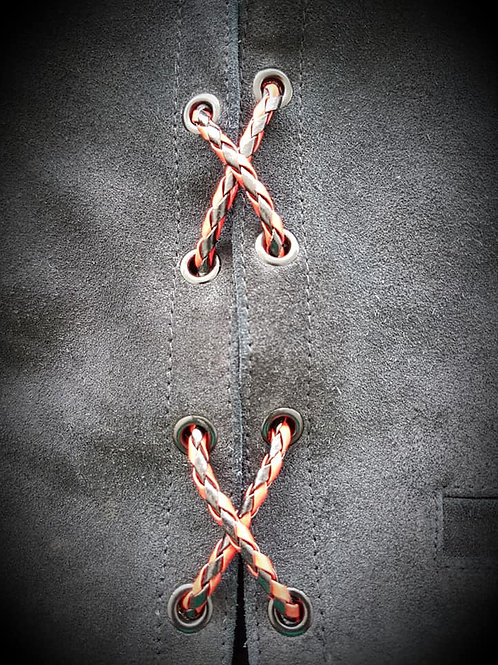 Red & Black Biker Vest Leather Bolo Cords
