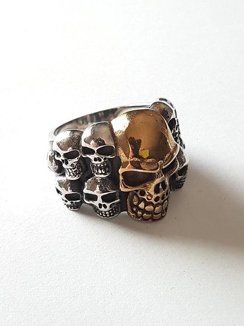 Pile of Skulls Biker Ring