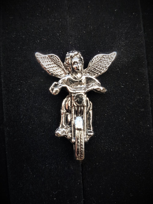 Guardian Angel on Motorcycle Pin