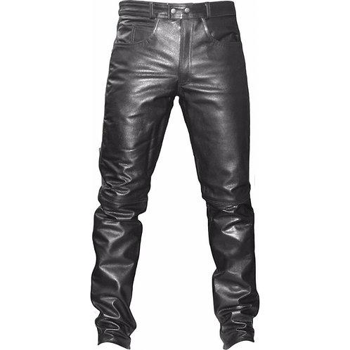 Leather Biker Jeans