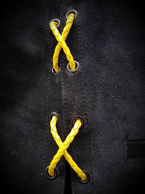 Yellow Biker Vest Leather Bolo Cords