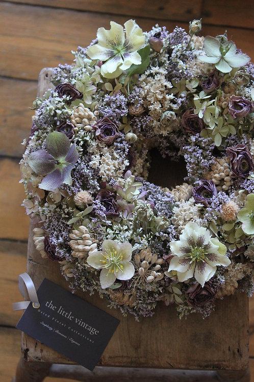 Hellebore,Ranunculus & Hydrangea Wreath