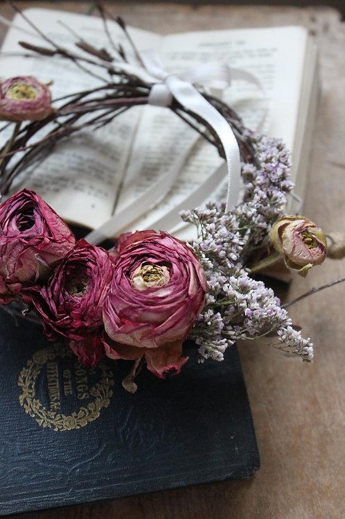 Dark Pink Ranunculus & Limonium Wreath