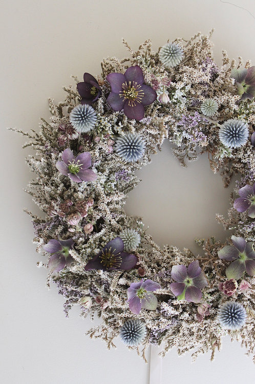 Echinops, Hellebore and Statice Wreath (Large)