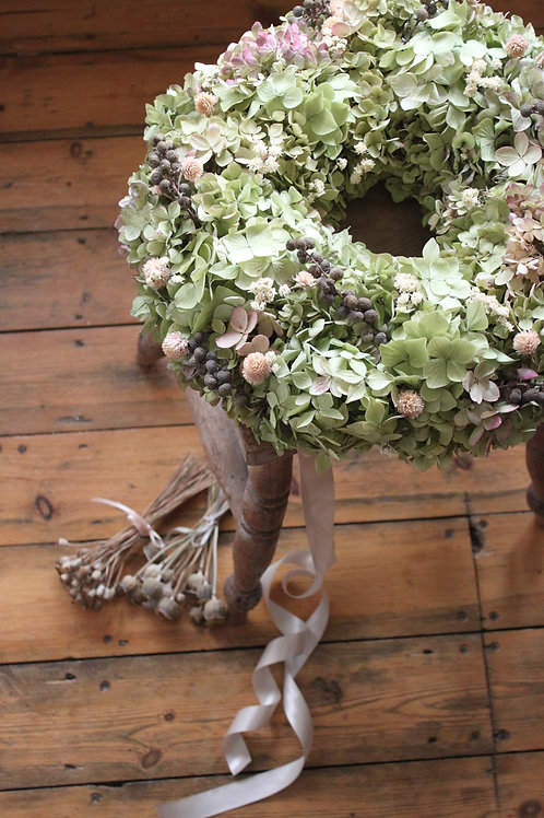 Pink Clover & Dadel Hydrangea Bloomer Wreath (Large)