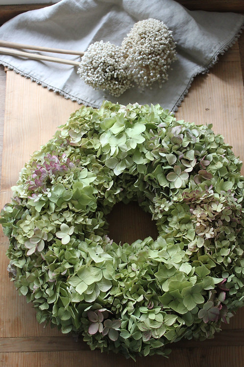 Light Green & Pink Hydrangea Bloomer Wreath (Large)