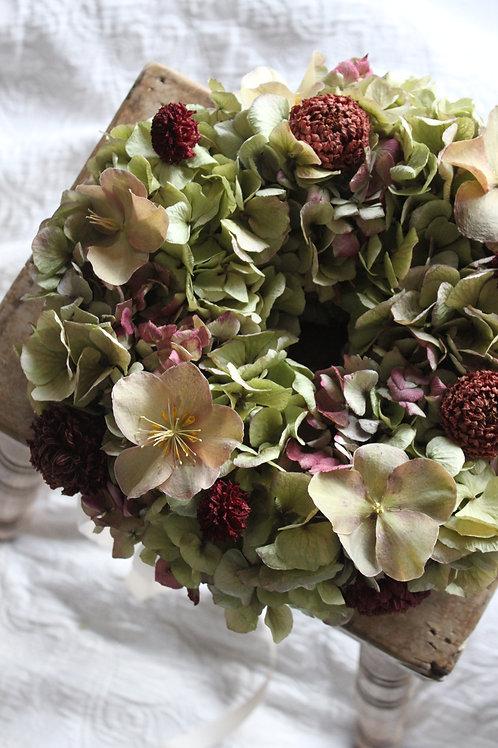 Maroon Dahlia, Hellebore & Hydrangea Wreath