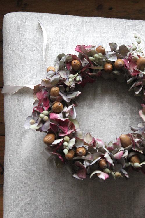 Little Acorns and Hydrangeas Wreath