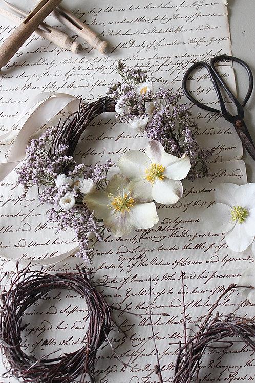 Cream Hellebore & Sea Lavender Wreath