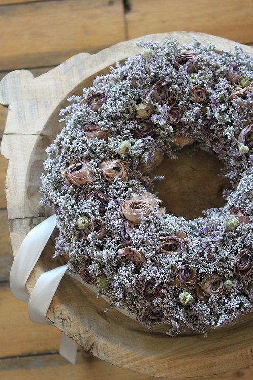 Lavender Ranunculus & Statice Wreath