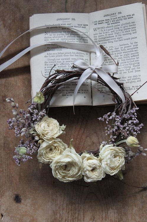 Ivory Ranunculus & Limonium Wreath