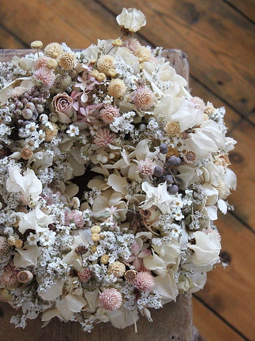 Ivory Hydrangea and Bougainvillea Wreath