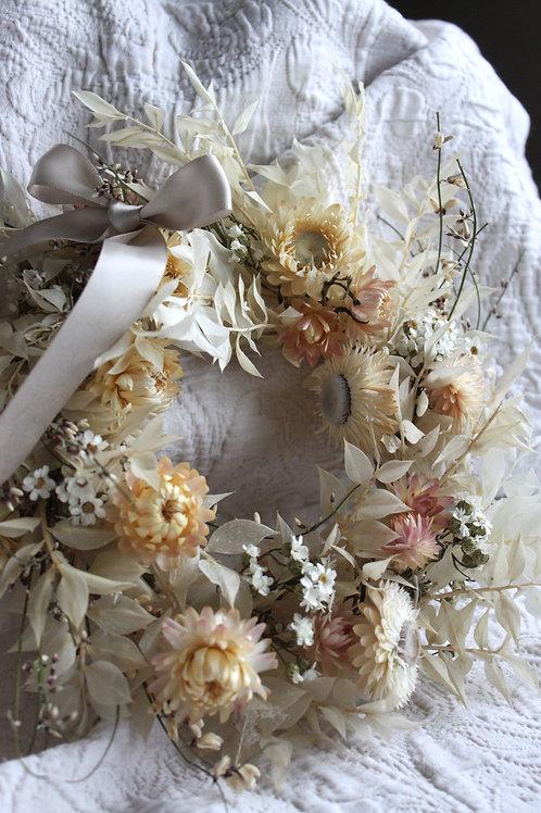 White Blush Straw Flowers & Ixodia Wreath
