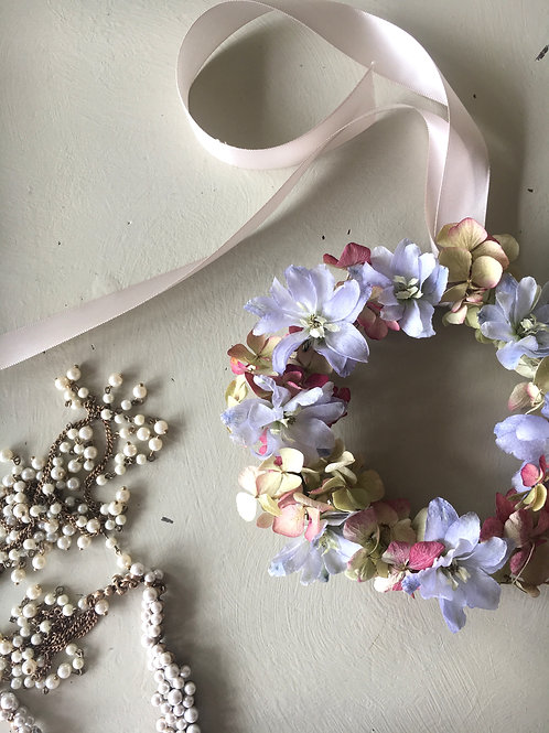 Larkspur and Hydrangea Miniature Wreath