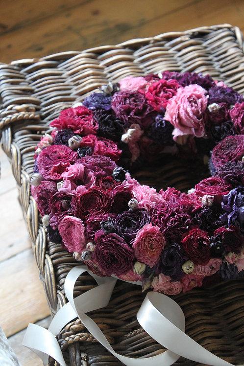 Pink & Purple Ranunculus Wreath