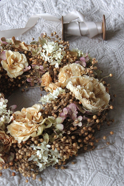 Warm Flax and Vintage Floral Wreath