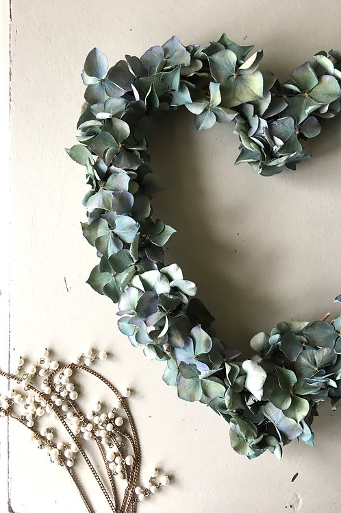 Teal Hydrangea Heart