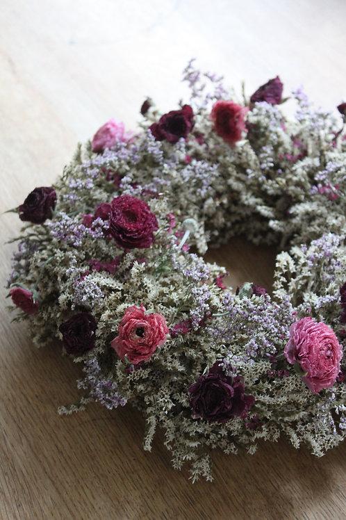 Pink Ranunculus & Statice Wreath