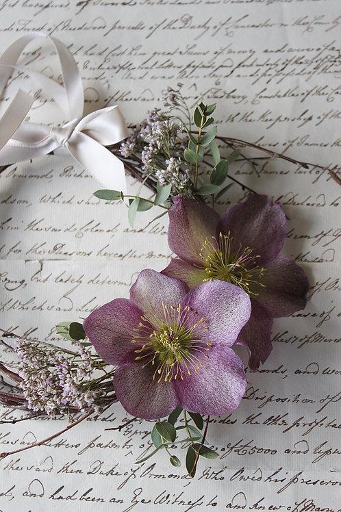 Purple Hellebore & Eucalyptus Wreath