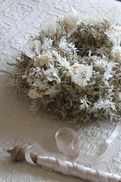 Statice & White Bougainvillea Wreath
