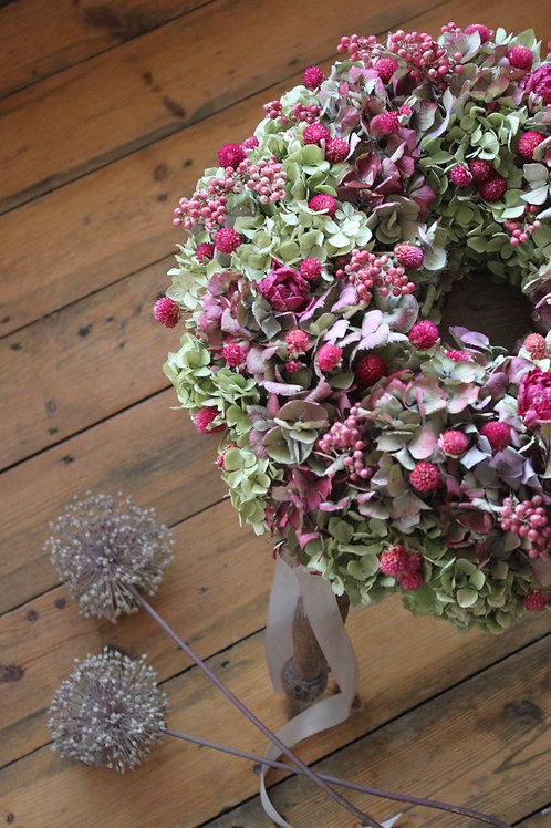 Raspberry Hydrangea Bloomer Wreath (Large)