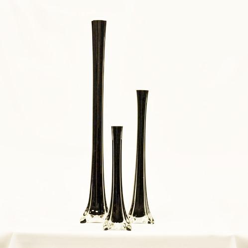 Black Flute Vases Trio