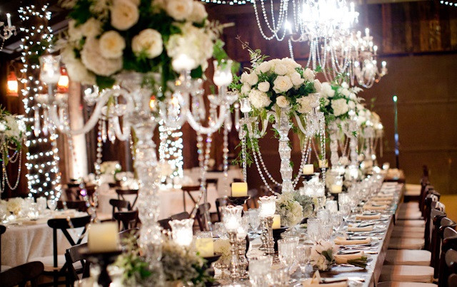 Crystal Candelabrum's for these custom centerpieces