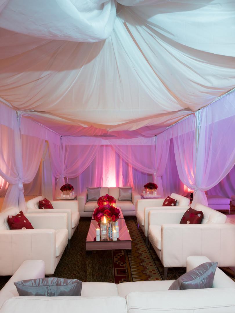 White and red cabana design
