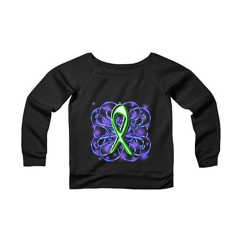 Lyme Disease Awareness Ribbon [2] Women's Wide Neck Sweatshirt
