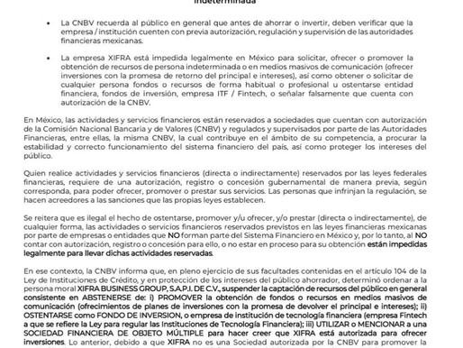 GRUPO XIFRA NO TIENE AUTORIZACIÓN PARA OPERAR EN MÉXICO COMO UN GRUPO FINANCIERO DE INVERSIÓN. (1)