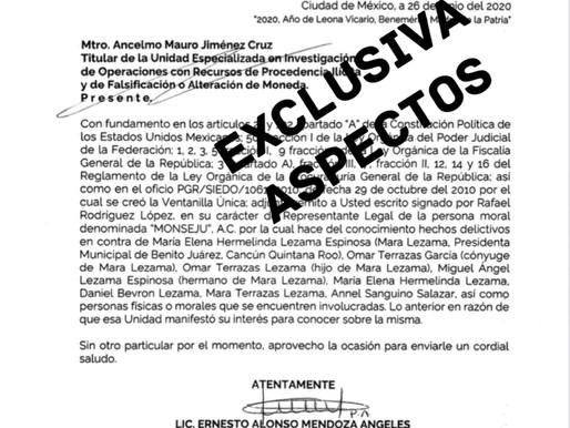 EXCLUSIVA: MARA LEZAMA FORMALMENTE DENUNCIADA ANTE FGR, UIF Y SAT POR DIVERSOS DELITOS.