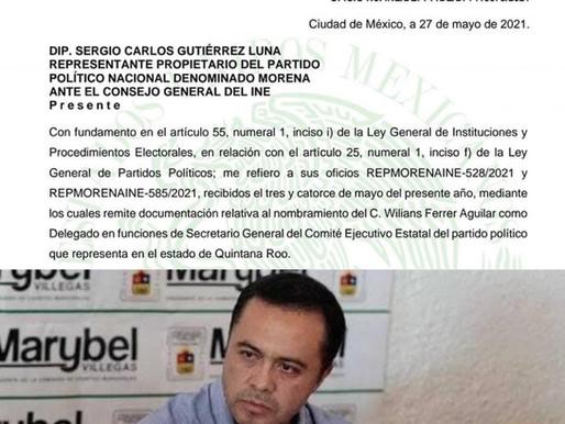 RECONOCE INE A WILLIANS FERRER COMO NUEVO SECRETARIO GENERAL DE MORENA EN QUINTANA ROO.