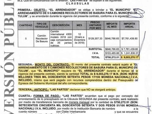 VÍCTOR MAS TAH REALIZÓ MILLONARIA RENTA DE CAMIONES RECOLECTORES DE BASURA, CON VALOR DE 9 MDP.