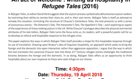 'An act of welcome': writing as hospitality in Refugee Tales – April 19