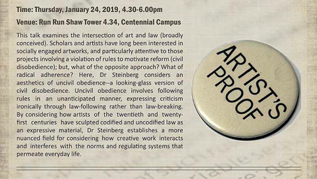 "January 24: Monica Lee Steinberg – ""The Legal Medium: An Aesthetics of Uncivil Obedience"""