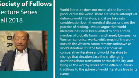 "October 22: Zhang Longxi, City U: ""The Yet-Unknown World Literature"""