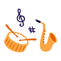 A drum with drumsticks and saxophone surrounded by two musical note icons.