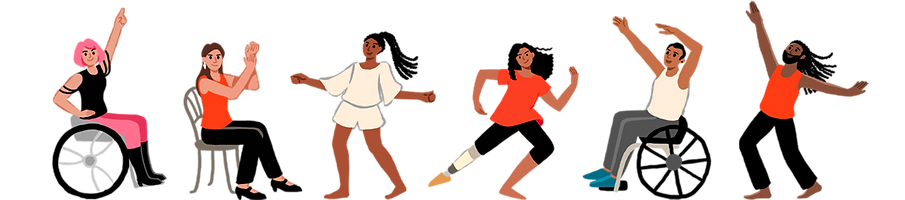 A lineup of six people in various dancing poses. From left to right: Woman sitting on a wheel chair with one hand pointing up. Woman sitting on a chair clapping her hands. Woman dancing with arms out. Woman with prosthetic leg dancing with one arm up and one arm down. Man sitting on a wheel chair dancing with arms flaring to the side. Man dancing with arms wide open.
