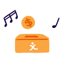 A box and a coin surrounded by two musical note icons.