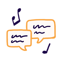 Two dialogue bubbles with scribble lines surrounded by two musical note icons.