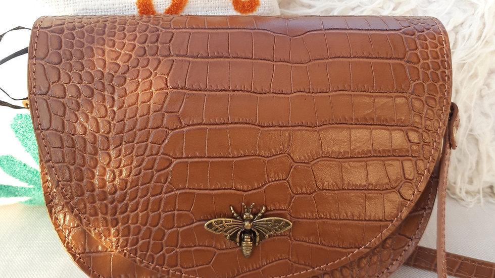 sac cuir abeille camel